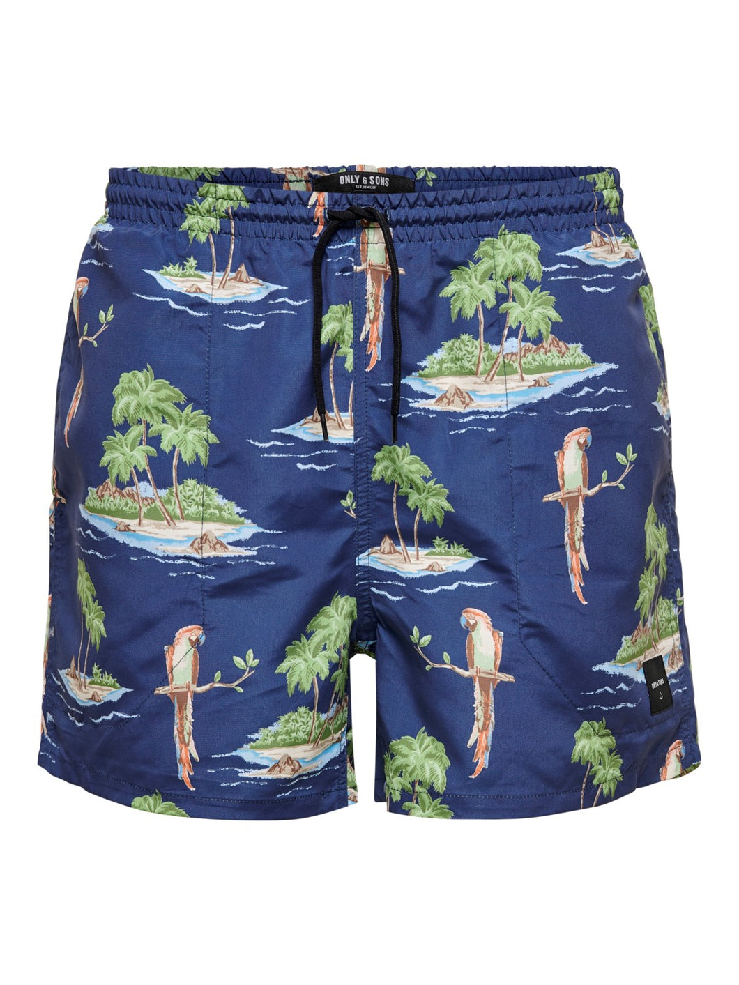 Only & Sons Tan Swim Shorts All Over Print Navy