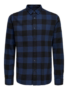 Only & Sons Gudmund Block Check Shirt Navy
