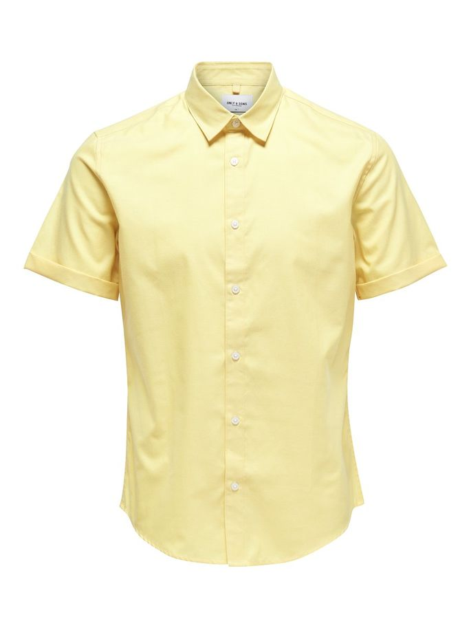 Only & Sons Short Sleeved Oxford Shirt Yellow