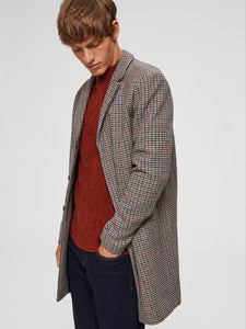 Selected Homme Brove Wool Mix Check Coat Grey Mix
