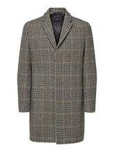 Load image into Gallery viewer, Selected Homme Brove Wool Mix Check Coat Grey Mix