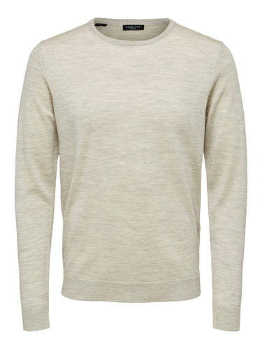 Selected Homme Tower Merino Jumper Light Sand