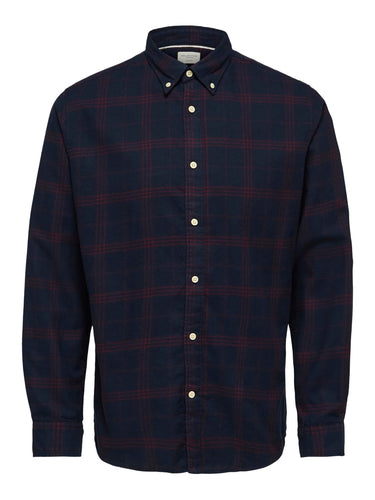 Selected Homme Flannel Check Shirt Navy Port
