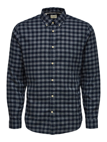 Selected Homme Flannel Check Shirt Grey with Navy