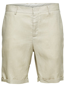 Selected Homme Tapered Linen Shorts Stone