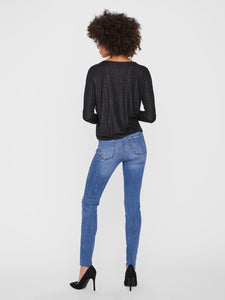 Vero Moda Honey Glitter Wrap Top Black