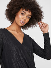 Load image into Gallery viewer, Vero Moda Honey Glitter Wrap Top Black