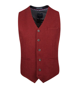 Guide London Plain Wool Waistcoat Burgundy