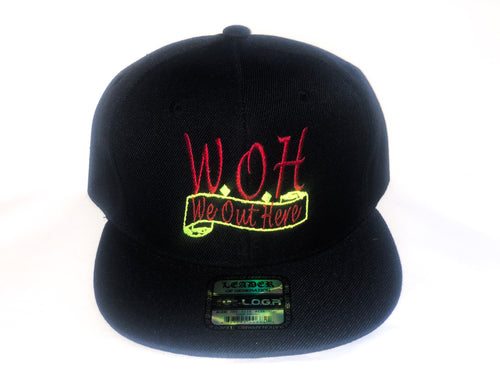 W.O.H We Out Here Black/Red/Neon Snap Back