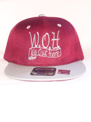 W.O.H We Out Here Burgundy/Gray Snap Back