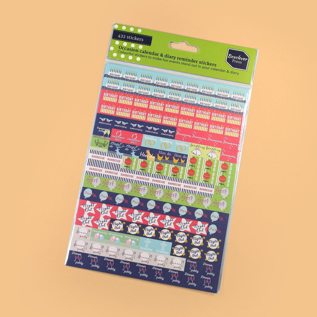 BCSTICK-1-OCC-Category Occasions calendar and diary reminder stickers with words including birthday and night out on orange background