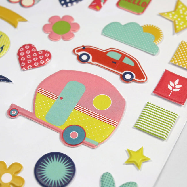 BD_PSARR_Gallery_10 Close up of puffy planner and journal stickers in colourful shapes and designs including a caravan, flower and heart