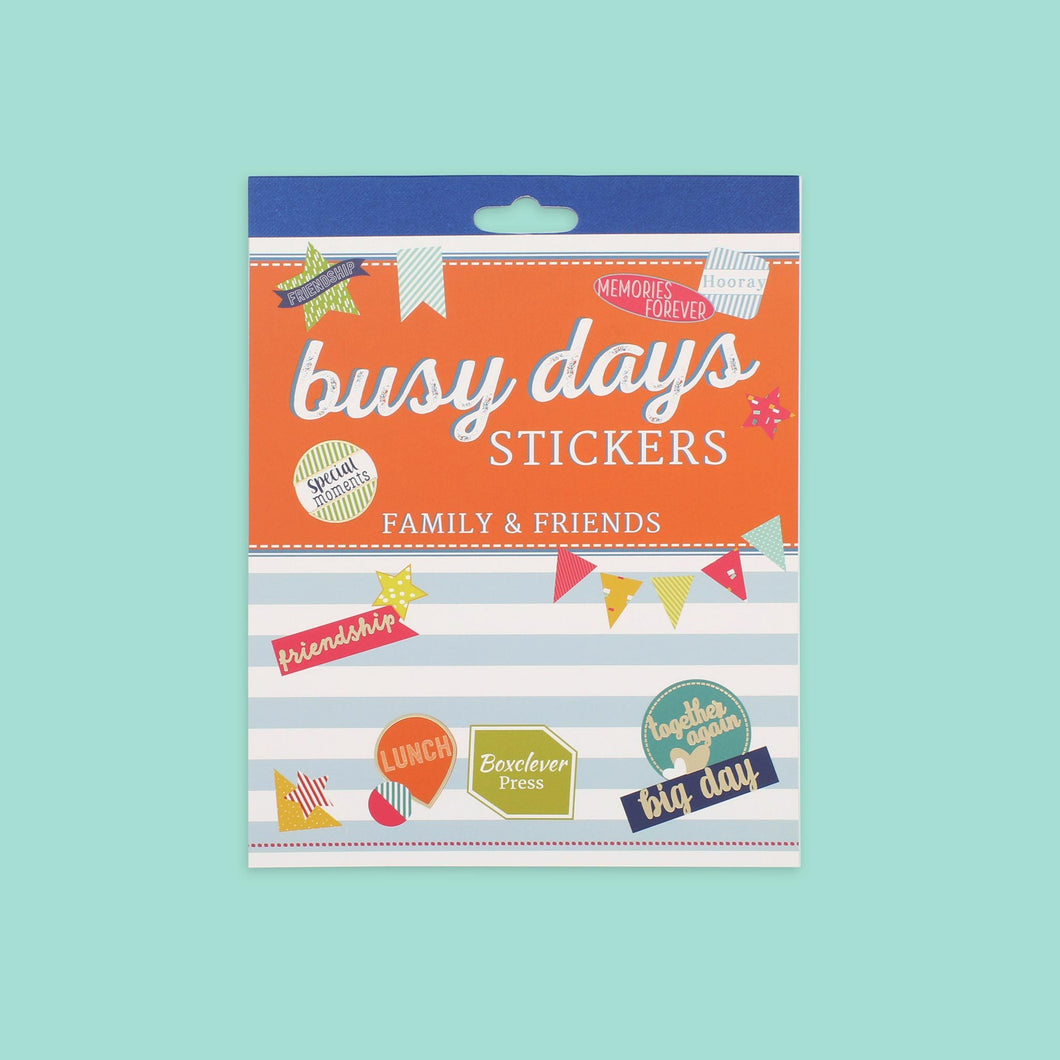 BD_PSFAM_Category Family and friends theme daily planner stickers with decorations including bunting, stars and slogans