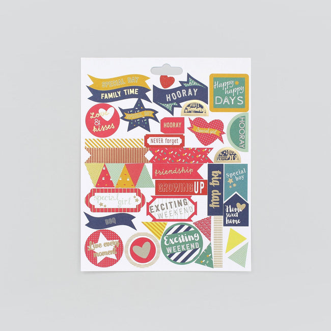 BD_PSFAM_Gallery_2 Colourful planner and journal stickers with foil detail including stars, hearts and bunting in family and friends theme