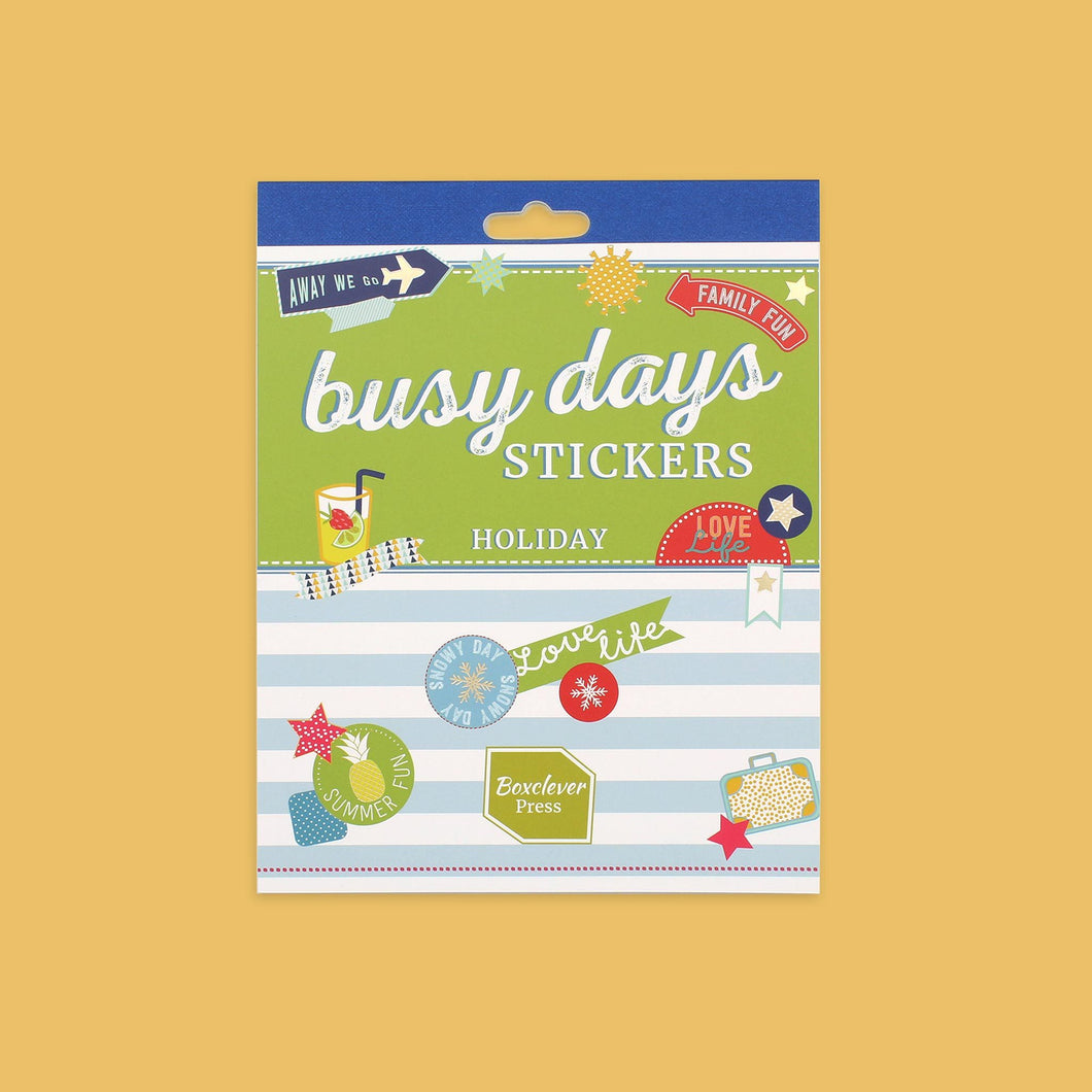 BD_PSHOL_Category Busy Days UK Planner sticker book with holiday theme and colourful stickers including a pineapple and travel theme