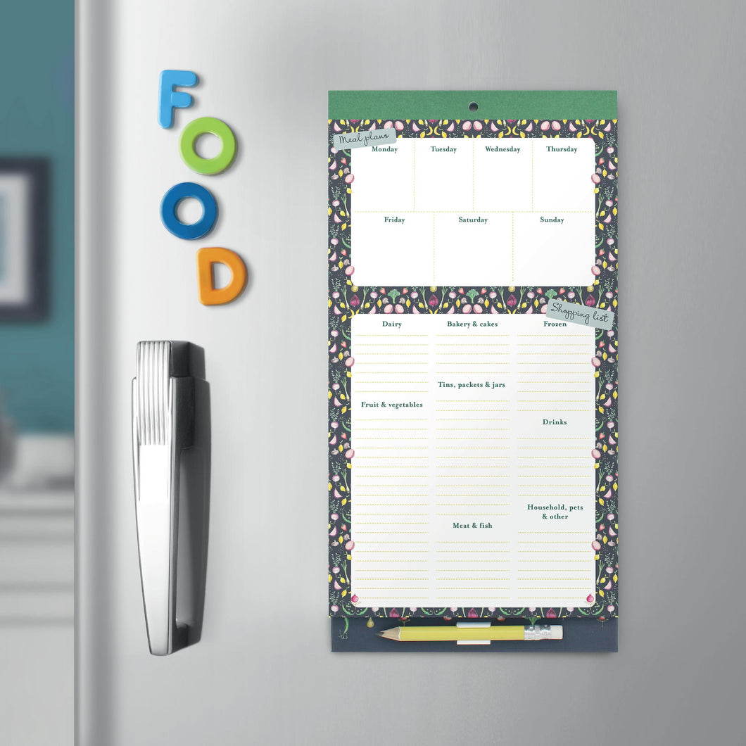 Magnetic Menu Planner and Shopping List (Garden)