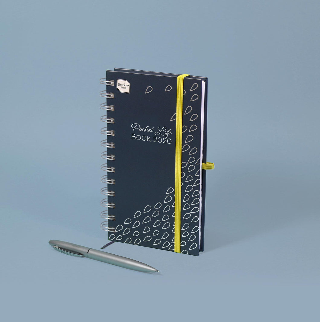 PLB-20_Category_Image Blue and yellow Boxclever Press Pocket Life Book 2020 academic diary on blue background