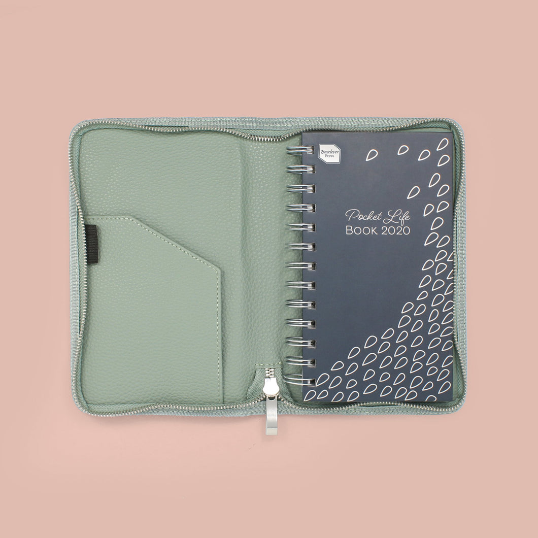 PLBLC-20_SAGTEX_Gallery_1 Slimline blue diary with silver binding and blue cover with foil detail in sage green zip diary cover