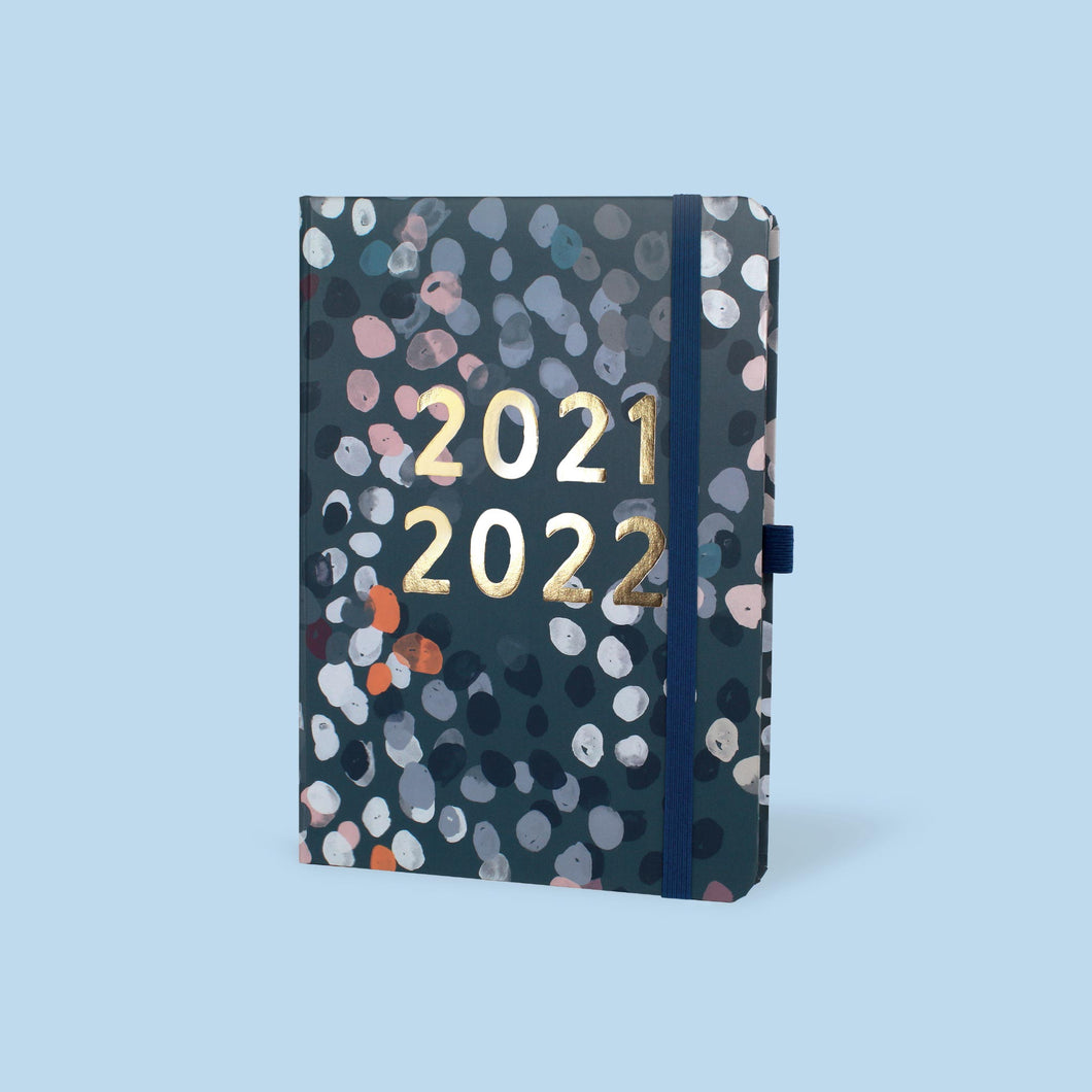 The Perfect Year Academic Family A5 Diary's blue cover with spotted design against a blue background.