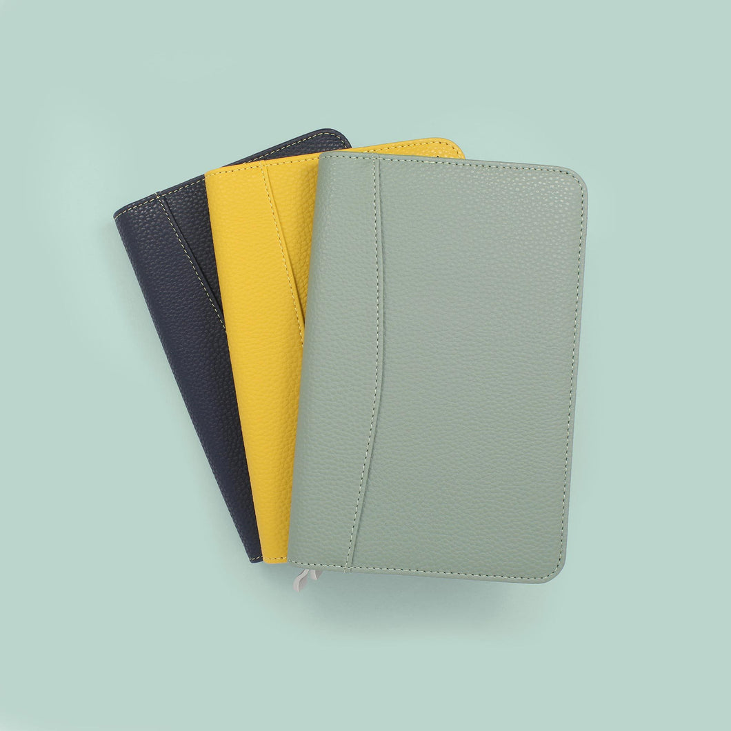 Group of small diaries covers perfect for pocket life book. sage green mustard and blue diary covers