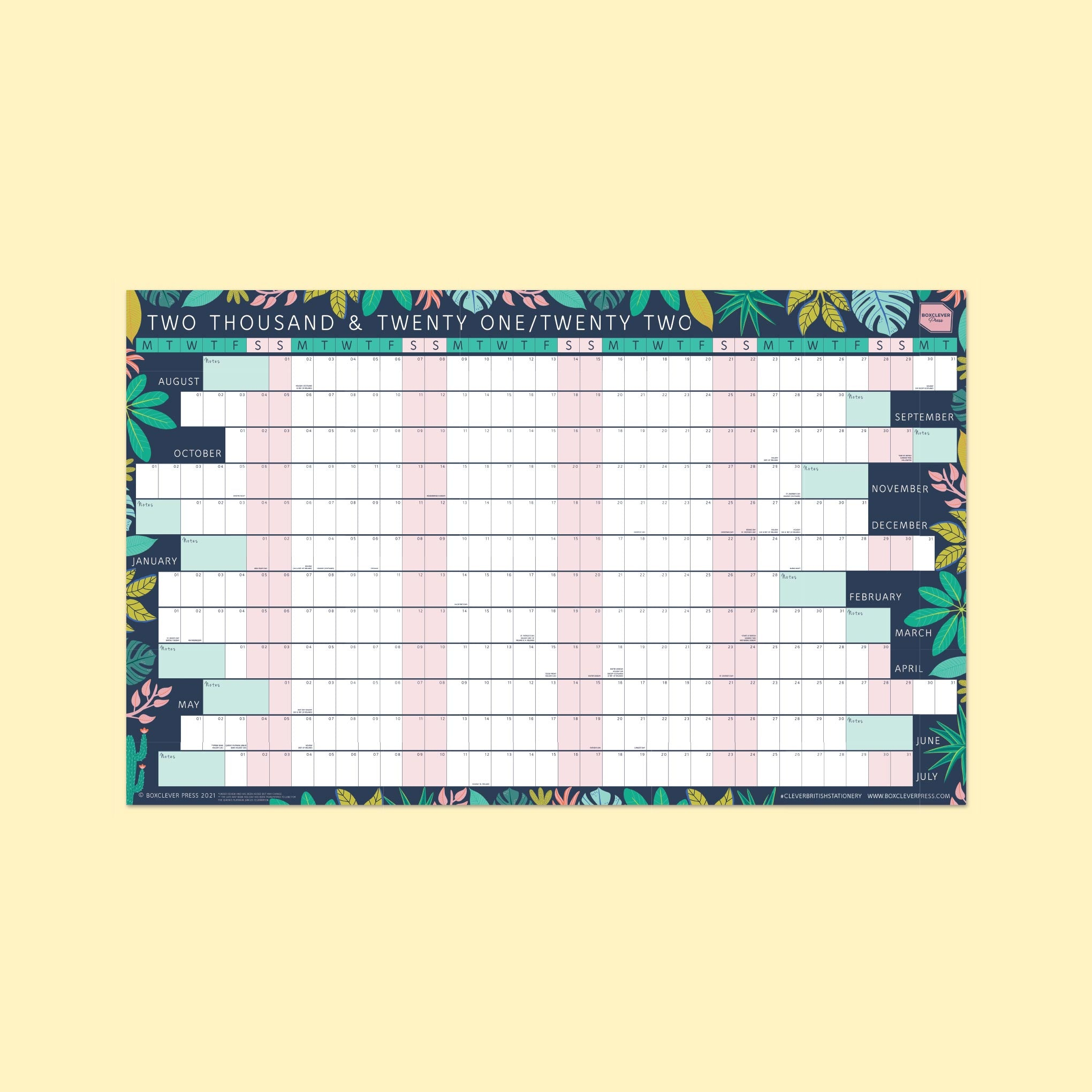 An image of 2021 - 2022 Simply Study Linear Wall Planner I Boxclever Press Laminated
