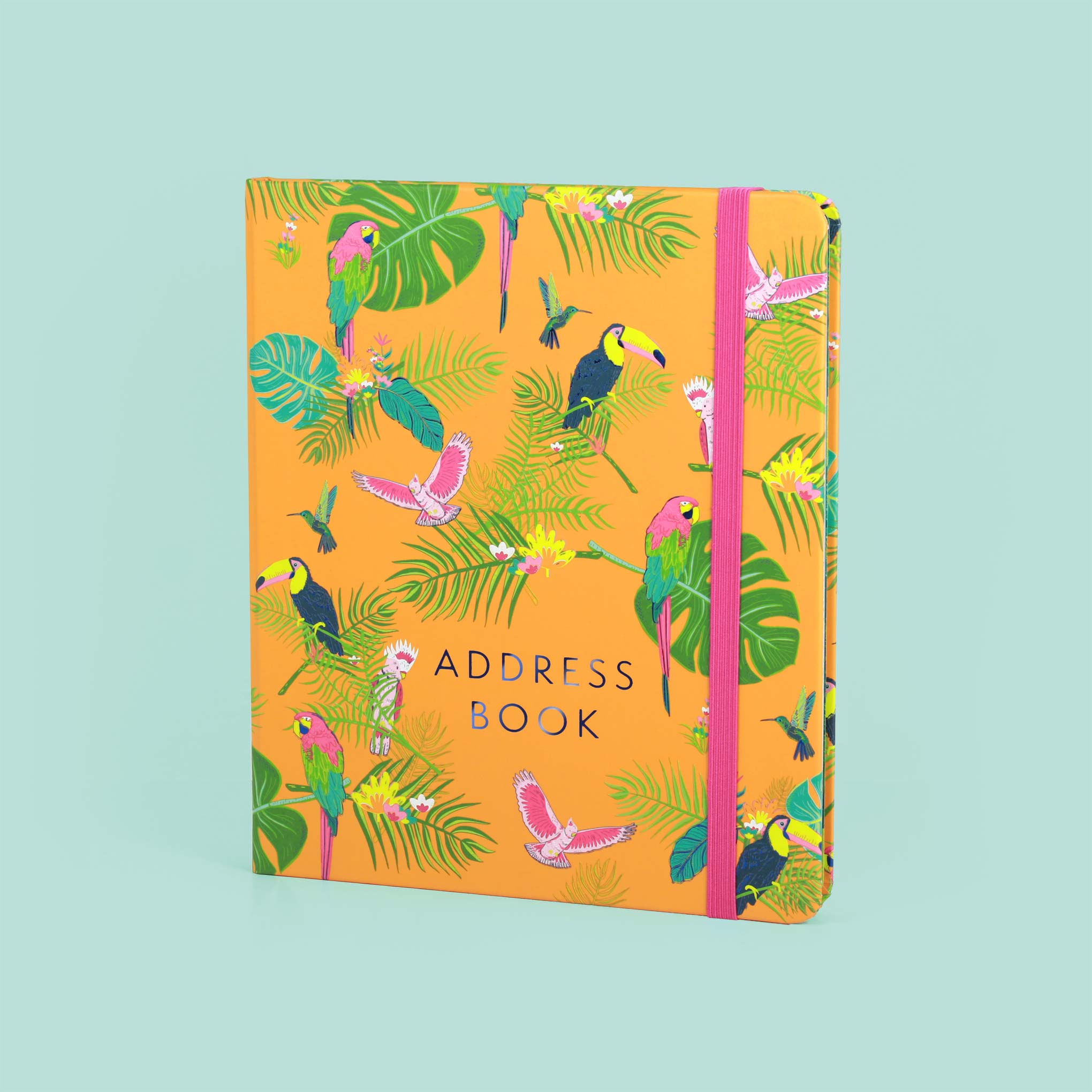 An image of The Boxclever Press Large Address Book (Tropical Birds) Index tabs