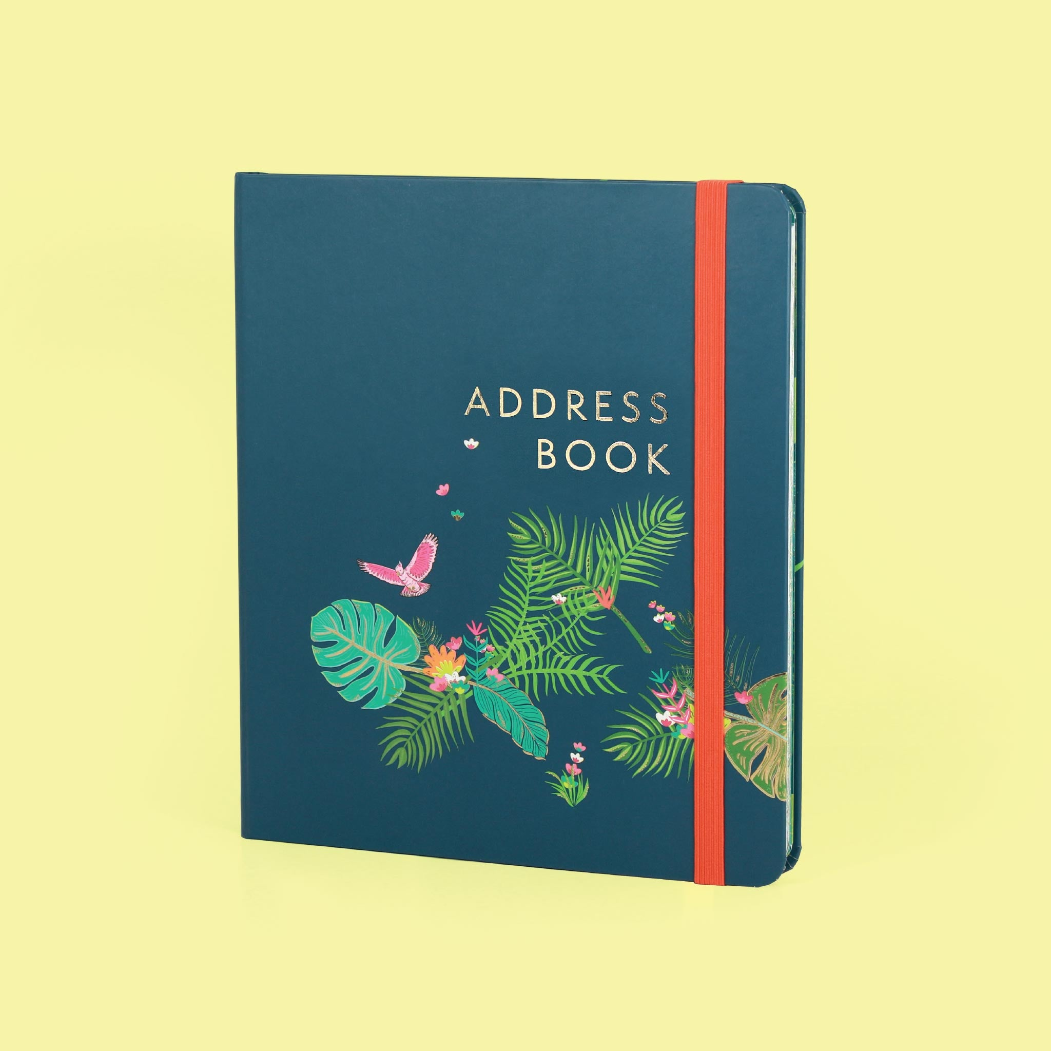 An image of The Boxclever Press Large Address Book (Tropical Elegance) Index tabs