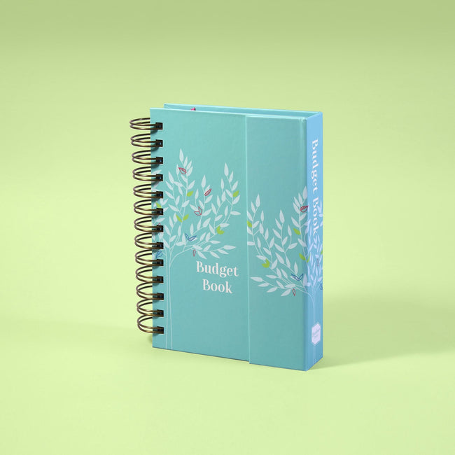Small account book from Boxclever Press with aqua blue design, brass metal binding and magnetic closure