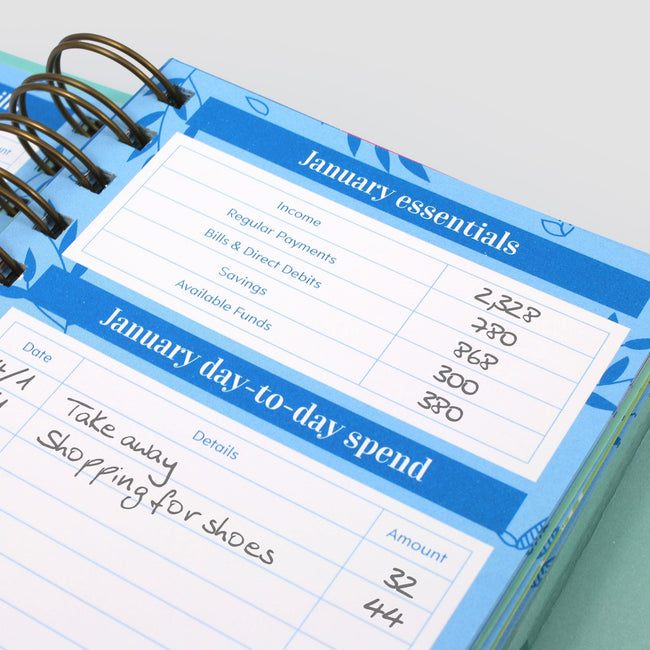 Small petty cash and family budget ledger showing close up of January essentials budget planning pages