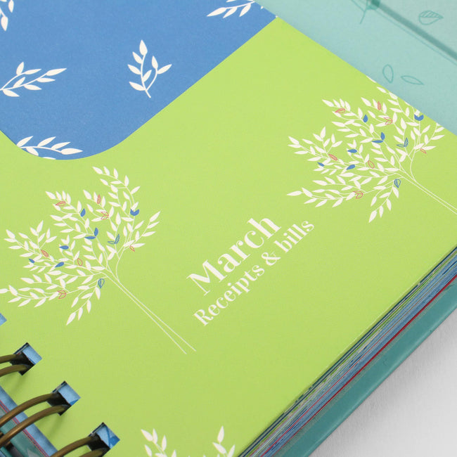 Small expenses book showing a close up of the March receipts and bills pocket decorated in lime green and blue