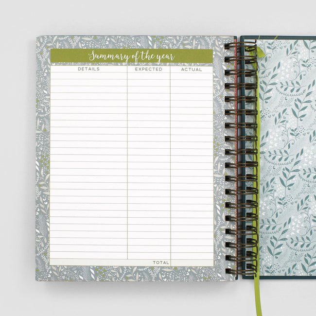 Budget planner from Boxclever Press showing annual summary page with grid layout and flowers