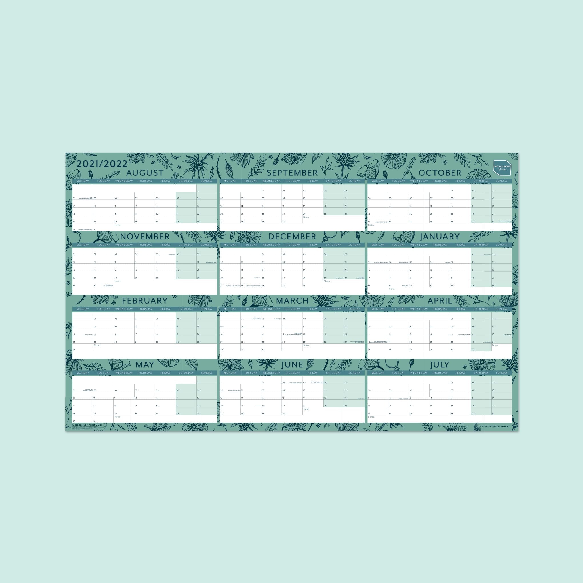 An image of 2021-2022 Academic Block Wall Planner | Boxclever Press Laminated