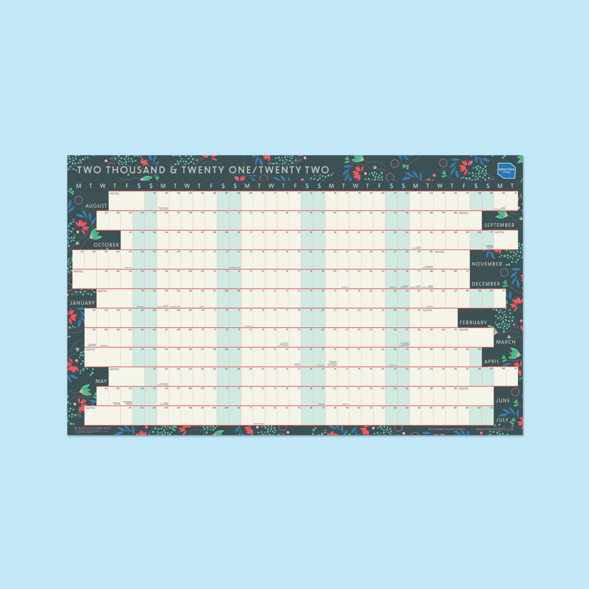 An image of 2021-2022 Academic Linear Wall Planner   Boxclever Press Non-laminated