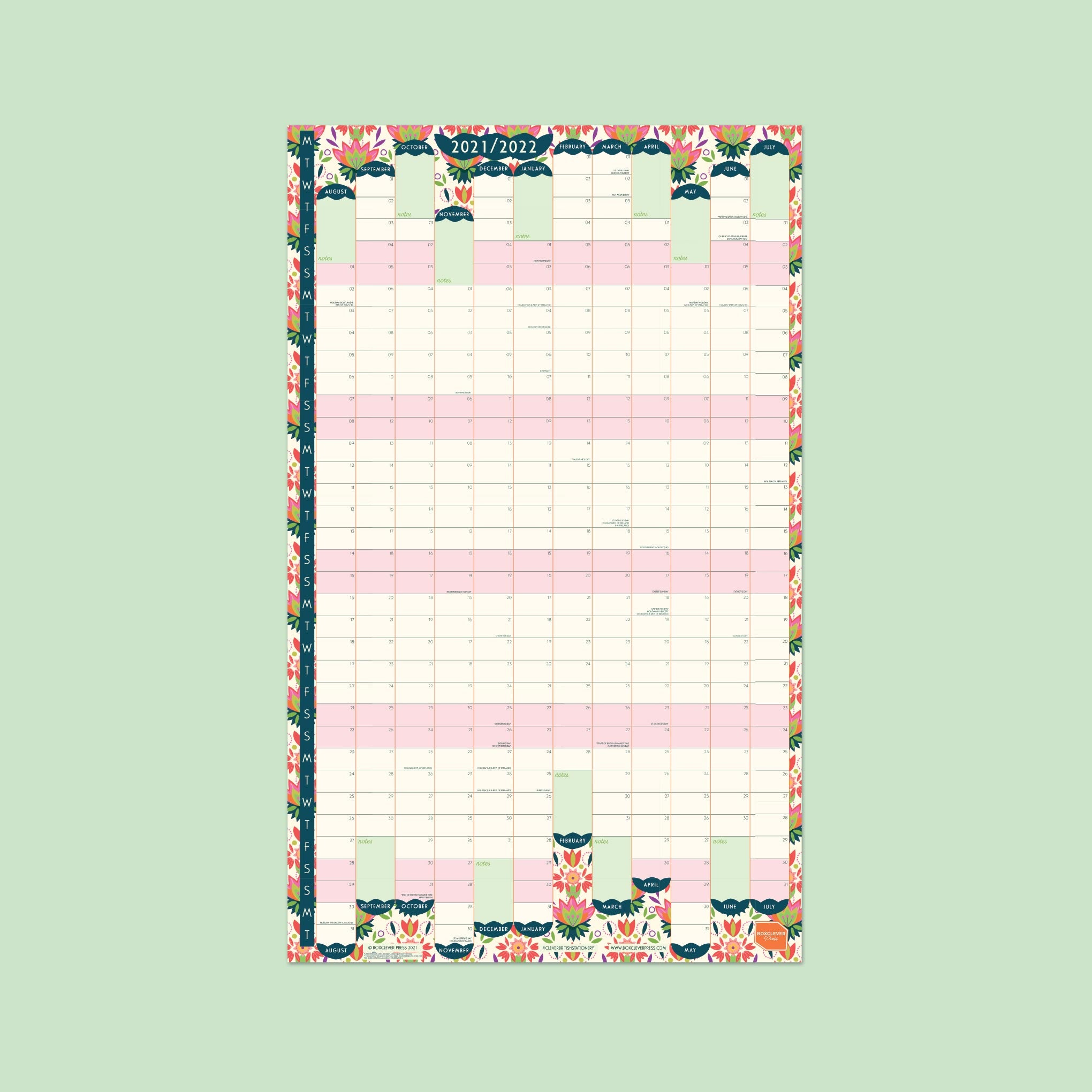 An image of 2021- 2022 Academic Portrait Linear Wall Planner   Boxclever Press Laminated