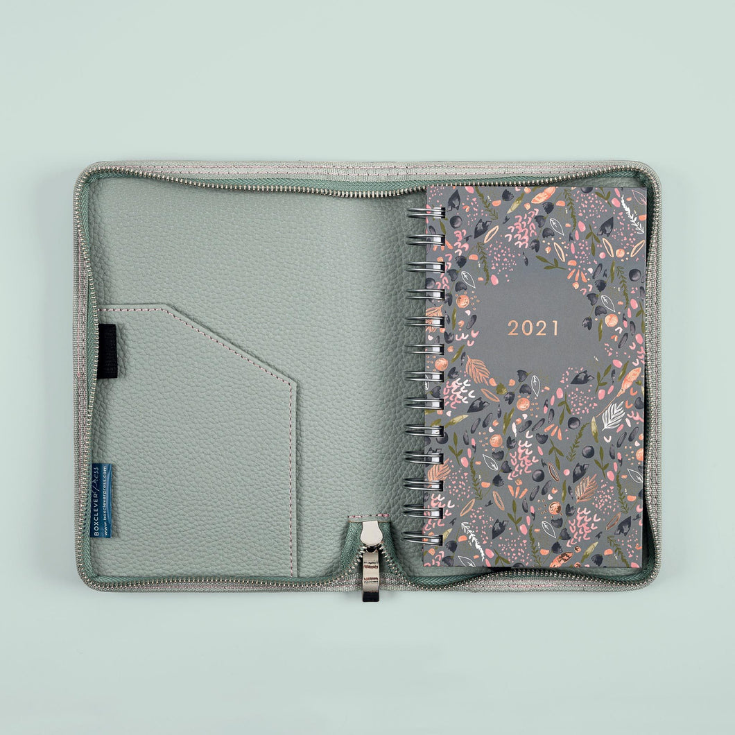 The pockect lifebook 2020/21 diary in a cover on a light green background