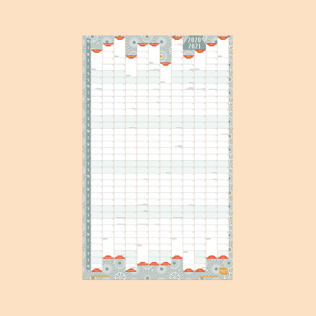 2020 - 2021 Portrait Academic Linear Wall Planner