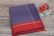 Blue check cotton saree with maroon border