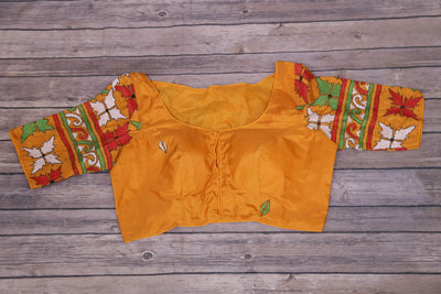 Mustard yellow silk blouse with kantha work on back and sleeve