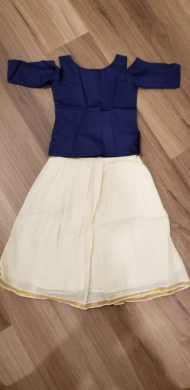 Creme cotton traditional skirt and navy blue top