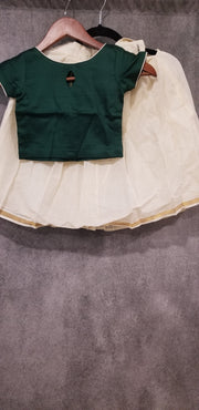 Creme cotton traditional skirt with dark green crop top