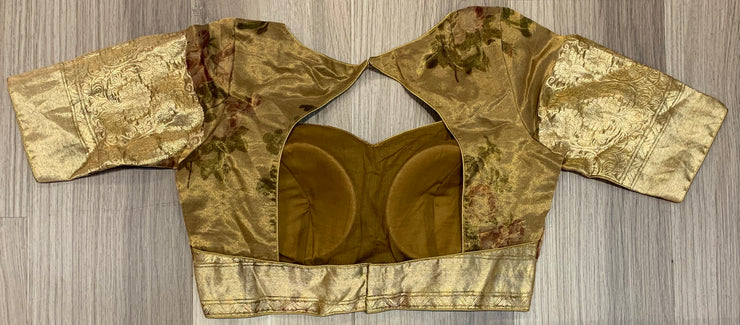Tan brown organza blouse with brocade sleeves