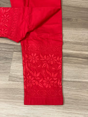 Red Cotton strechabe chikankari ankle length pants