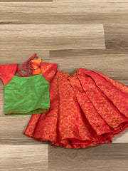 6 -9 months-Red brocade skirt with green crop top
