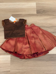 6 -9months- Maroon brocade skirt with brown crop top