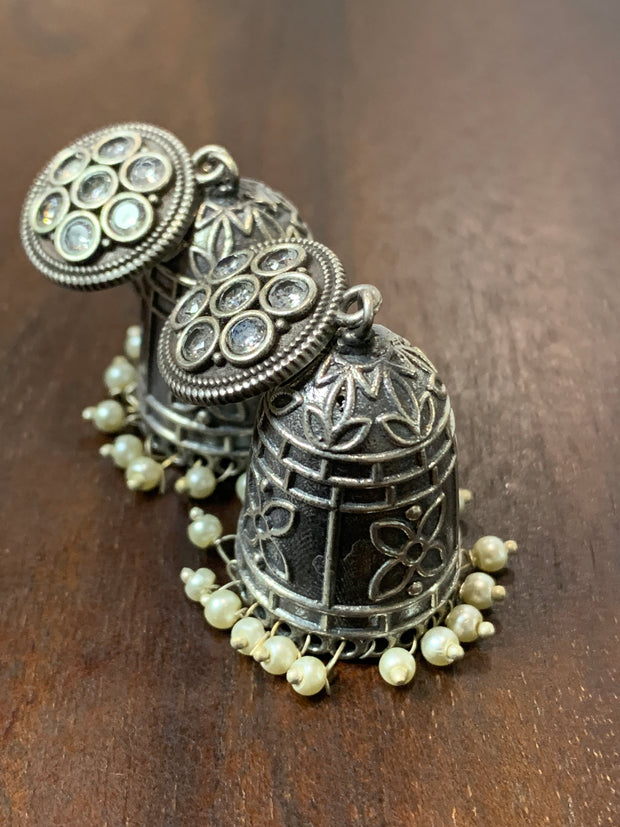 Jhumka with white stone