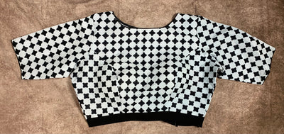 black and white cotton ckeck blouse