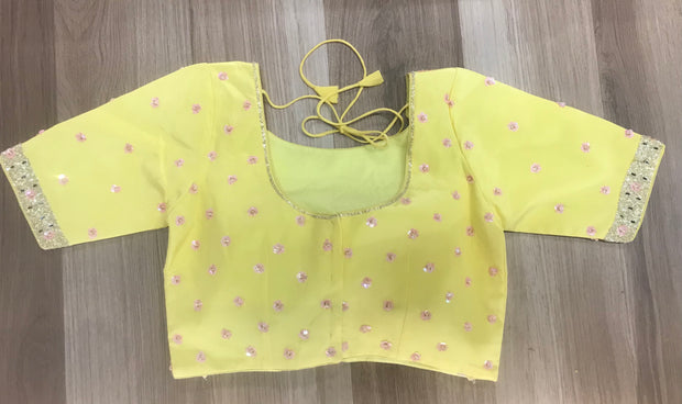 Yellow designer blouse with sequins and bead work
