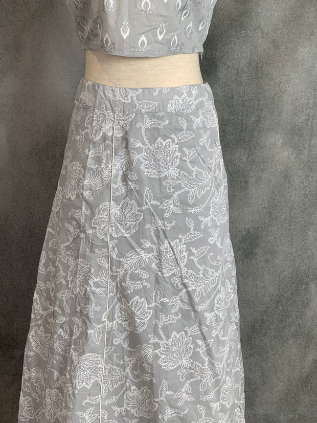 Grey printed cotton skirt and top