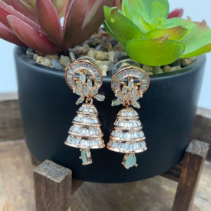 Rose gold cone jhumka with mint stone