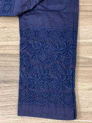 Navy blue Cotton strechabe chikankari ankle length pants